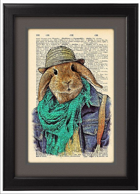 Funny Bunny Hipster, Geekery lapin, poster art, Pages de dictionnaire, cadeau, Art pariétal, imprimer affiche drôle de décor, Pages de livre, dortoir, CODE/159
