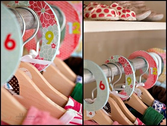 DIY baby room closet dividers,    or instead of age take size!