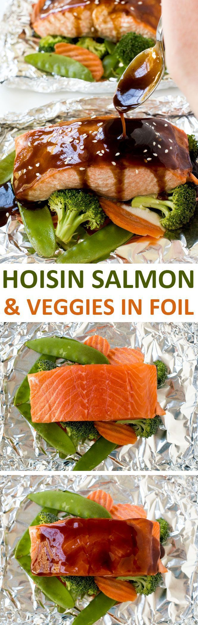 Hoisin Glazed Salmon and Veggies in foil baked to perfection and drizzled with an amazing 3 ingredient hoisin sauce!   chefsavvy.com #recipe #salmon #seafood #hoisin #asian