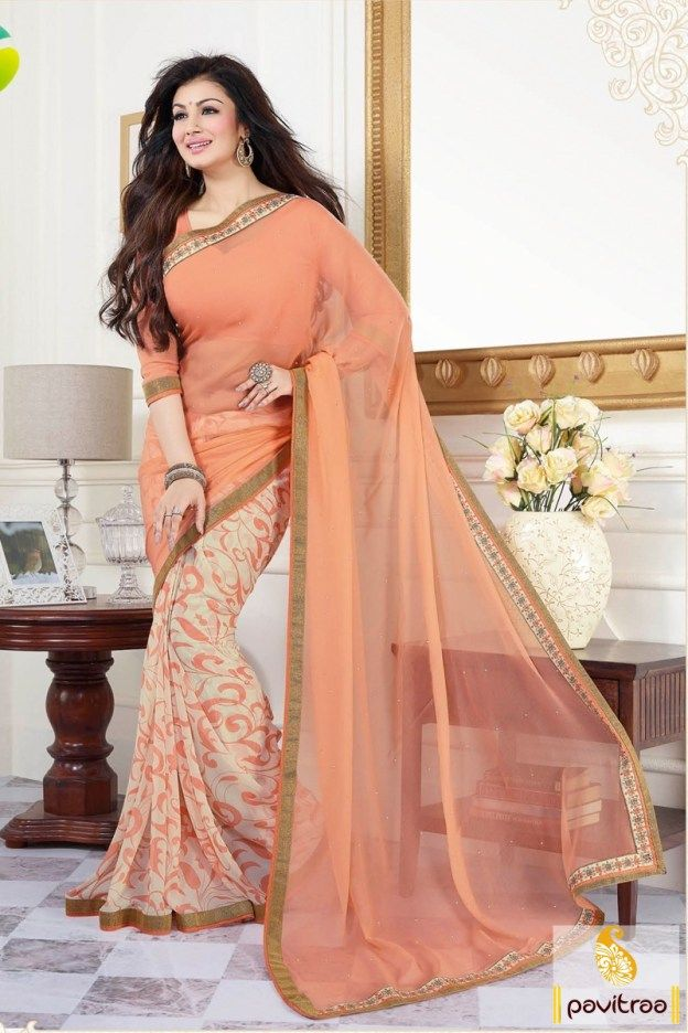 Bollywood Celebrity #Peach Georgette Casual Wear Saree Online #Bollywood, #Heroine, #Actress, #Georgette, #sarees, #sari, #saree, #partywear, #casual, #latest, #fancy, #beautiful, #indianfashion, #indian, #officewear, #formal, #designer, #ayeshatakia More Product : http://www.pavitraa.in/sarees.html Any Query :  Call / WhatsApp : +91-76982-34040  E-mail: info@pavitraa.in
