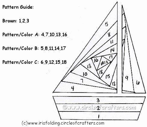 iris folding free patterns | Iris Folding @ CircleOfCrafters.com: Free Sailboat Pattern