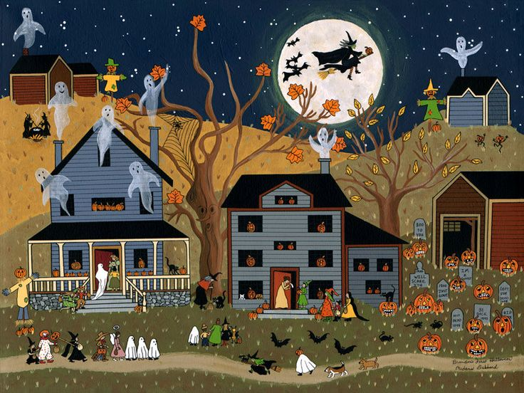"Folk Art Autumn Halloween Fall print by Medana Gabbard titled ""Brandon's First Halloween"". $36.00, via Etsy."
