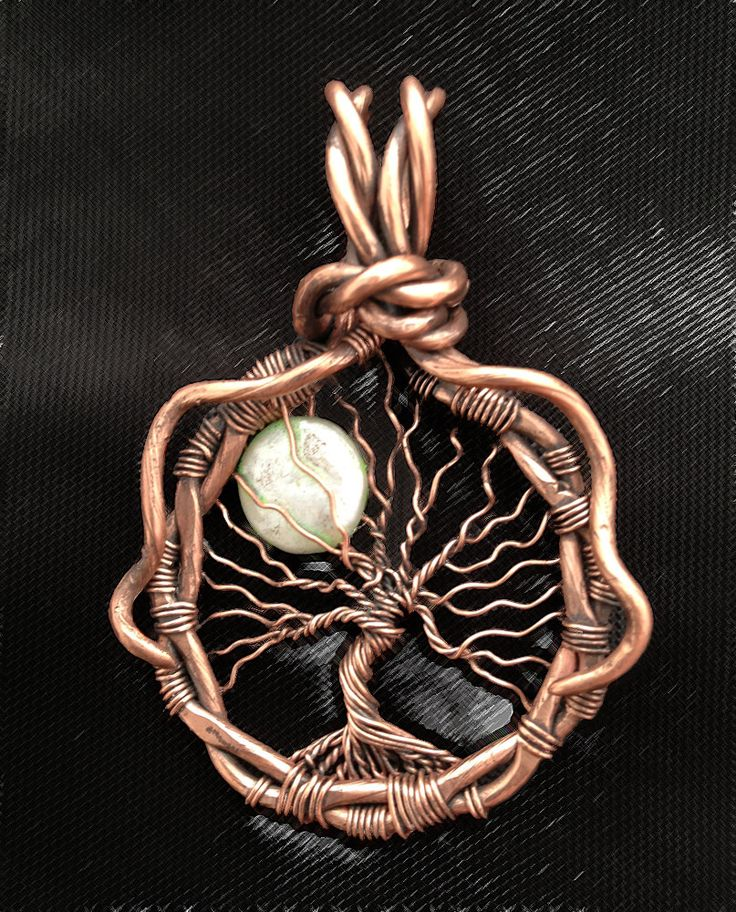 Full Moon Copper Tree of Life Wire Wrapped Necklace, oxidized copper Tree of Life with Moon pendant necklace by JewelryFusion on Etsy