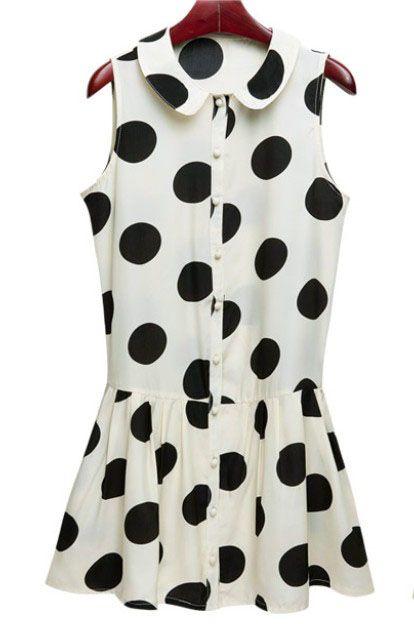 Polka Dot Chiffon Shirt Dress