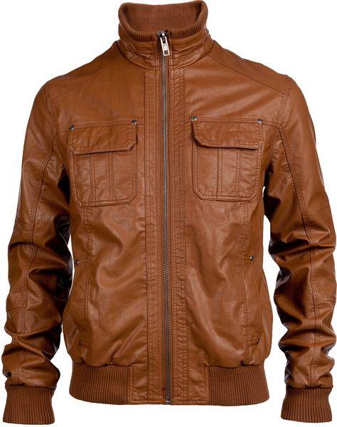 Мужские Кожаные Куртки Коричневого Цвета