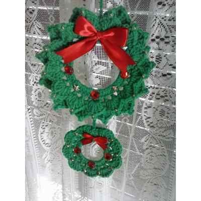 Corona Navideña Tejida Al Crochet - $ 220,00 en Mercado Libre