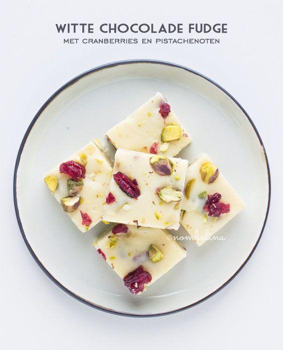Witte Chocolade Fudge met Cranberries en Pistachenoten - Nombelina.com