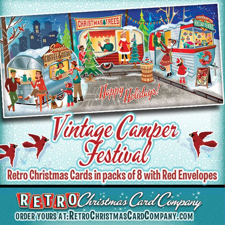 Vintage Camper Festival Christmas Cards Package Of 8 Retro