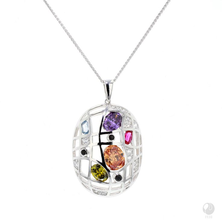 """FERI - Rain & Shine - Pendant - Exclusive FERI 950 Siledium silver - Exclusive dual natural rhodium and palladium plating - Set with exclusive FERI Swan cut lab stones - Colour: white and highlighted in multi-colour - Dimension: 38mm x 28mm (1.5"""" x 1.1"""") - Wt. 9.00gm. - Oval 5x3mm, 7x5mm, 8x6mm, 9x7mm  *Chain sold separately*  Invest with confidence in FERI Designer Lines.   www.gwtcorp.com/ghem or email fashionforghem.com for big discount"""