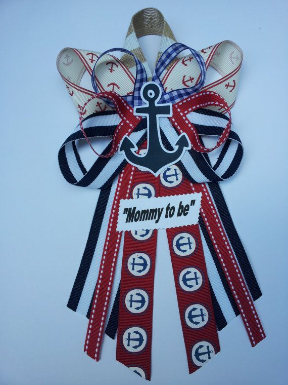 Nautical, anchor baby shower pin/corsage on Etsy, $12.50