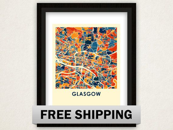 Glasgow Map Print Full Color Poster By ILikeMaps On Etsy 2000