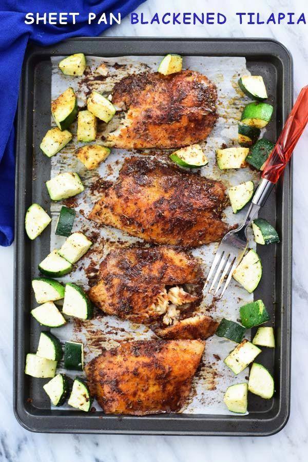 Lámina recipiente tilapia - un sencillo de 30 minutos en la tilapia ennegrecida con calabacín al horno en cacerola de la hoja!  FUSS cena gratis listo en poco tiempo!