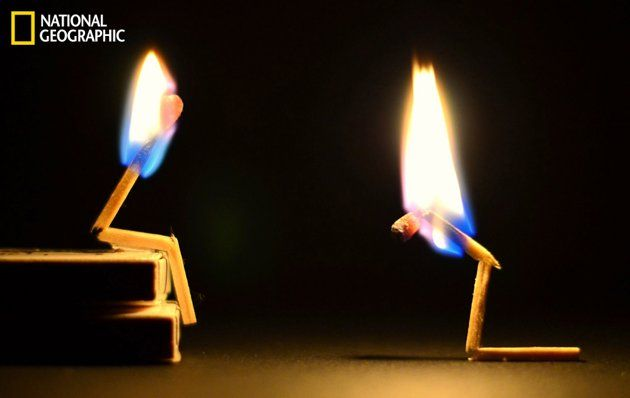 A photographer is able to make two matches express the emotions of a human couple.