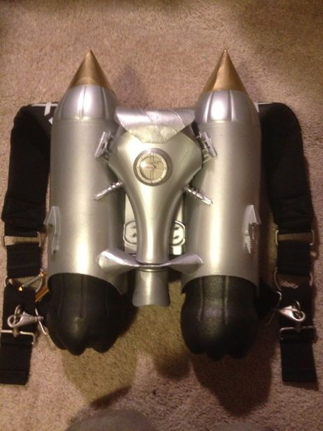 DIY Rocketeer style jet pack with stuff out of the average plastics recycle bin.