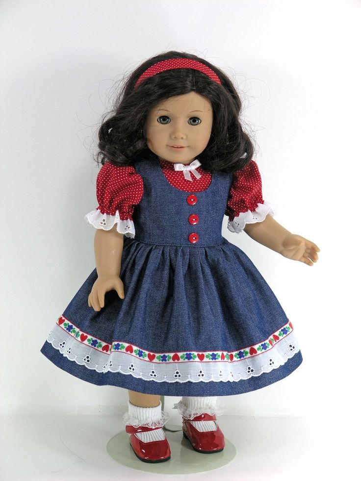 Handmade Doll Clothes fit 18 inch American Girl - Sundress or Jumper, Blouse, Headband, Pantaloons - Denim, Red Hearts, Dots - Exclusively Linda Doll Clothes