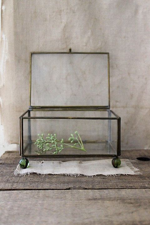 glass display box with glass ball feet by Harmonicajane