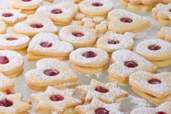 Delicious Swiss jam cookies our family makes for Christmas. My father is from Switzerland, so I grew up with these yummy cookies. I apologize if the time and yield are slightly off; I generally make 2-4 batches at a time, so it takes an entire evening!