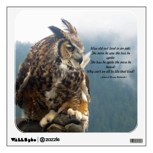 Good advice from the Wise Old Owl on a wall decal for your home or office