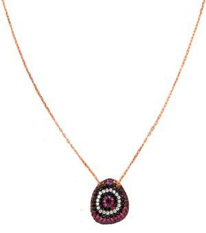 Handmade eye necklace, made of pink gold plated silver 925o with fuchsia, white and black zirconia - Χειροποίητο ασημένιο κολιέ μάτι από ροζ επιχρυσωμένο ασήμι 925ο με φούξια, λευκά και μαύρα ζιργκόν στο https://goo.gl/ufT0VL