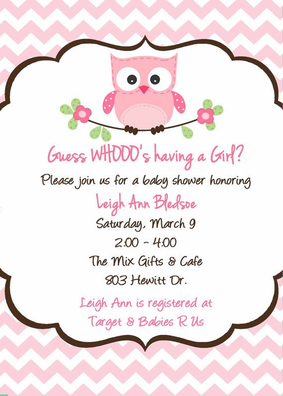 Owl Baby Shower Invitation  Custom Owl by PrintYourEvent on Etsy, $15.00