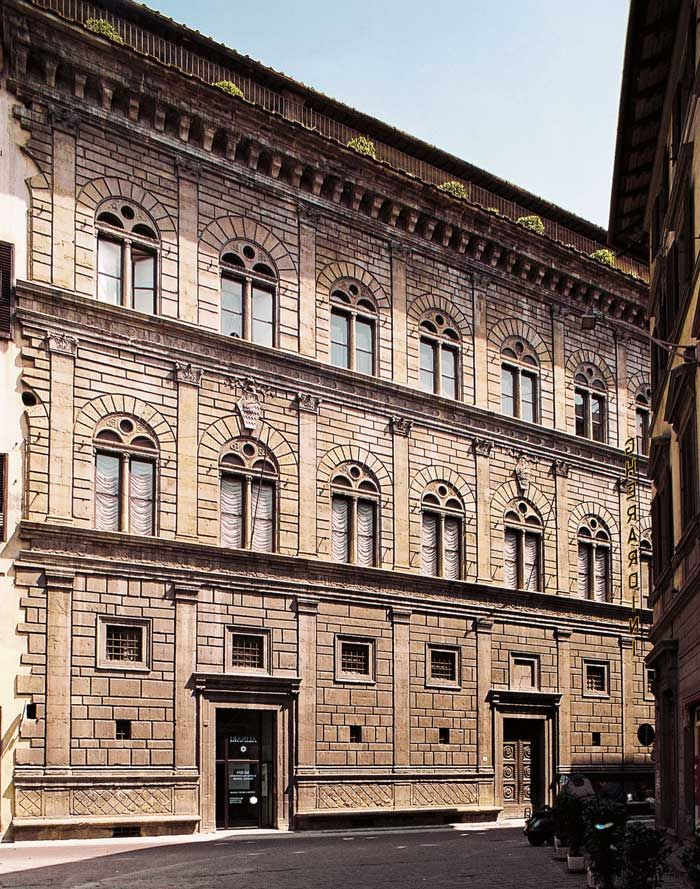 Palazzo Rucellai, Florence, Italy; designed by Leon Battista Alberti (1404-1472), built under the direction of Bernardo Rossellino between 1446-1451.