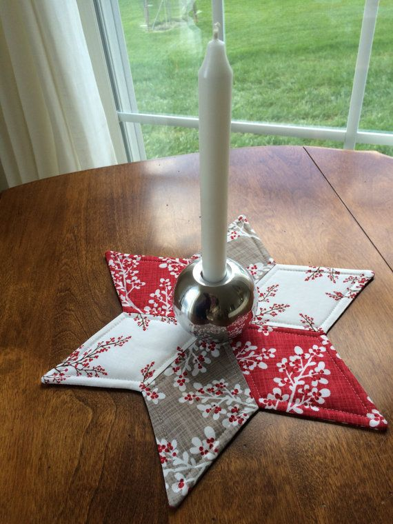 Red White & Grey Quilted Star Candle Mat Christmas or by seaquilt
