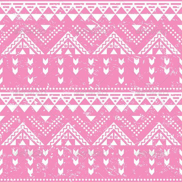 Tribal pattern, pink aztec print - old grunge styl