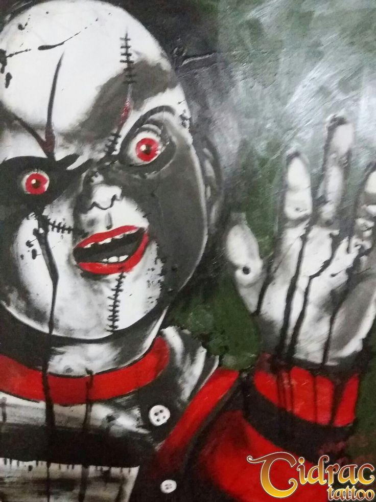 Chuck o boneco assassino   acrilico sobre tela - acrilic on canvas horror art
