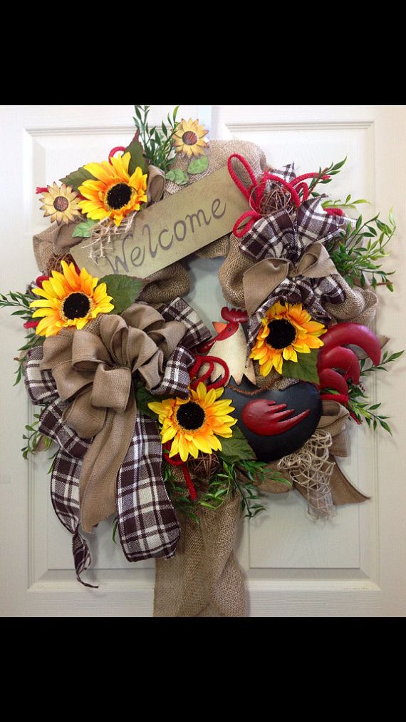 Rooster Wreath Summer Wreath Burlap Wreath by WilliamsFloral, $115.00