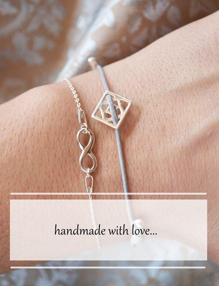 Bransoletka ze sznurka z łącznikiem oraz bransoletka srebrna z łańcuszka z łącznikiem, srebro próby 925