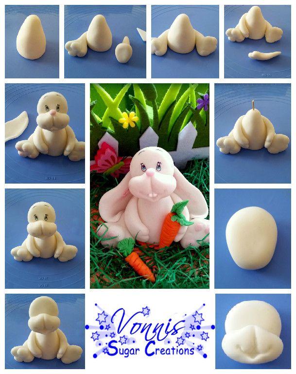 Tutorial easter rabbit bunny fondant polymer clay Hase Ostern Beschreibung