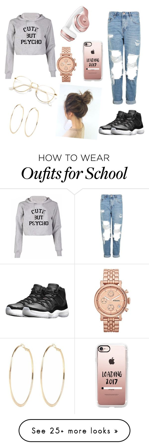 """""""1 School"""" by dukeabi on Polyvore featuring Topshop, NIKE, Beats by Dr. Dre, Casetify, FOSSIL and River Island"""