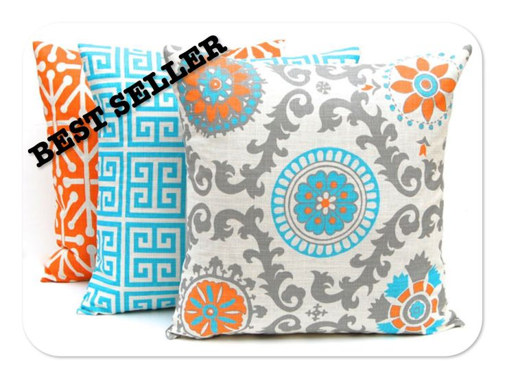 Turquoise Decorative Pillow Set : Decorative Pillow Covers, Turquoise and Orange Pillow Covers, Set of Three 18 x 18, Turquoise ...