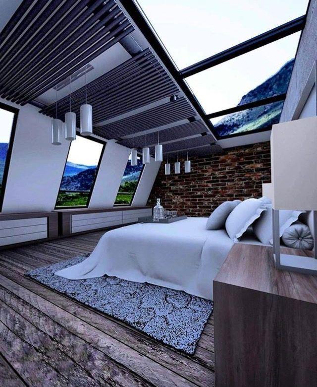 dag evinde bir yatak odasi tasarimi uyurken hem tavandan hemde yandalardan  – Haus architektur