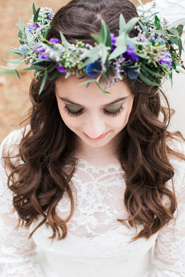 flower crown and dark shadow - photo by Jen and Chris Creed http://ruffledblog.com/purple-and-ivory-wedding-in-the-woods