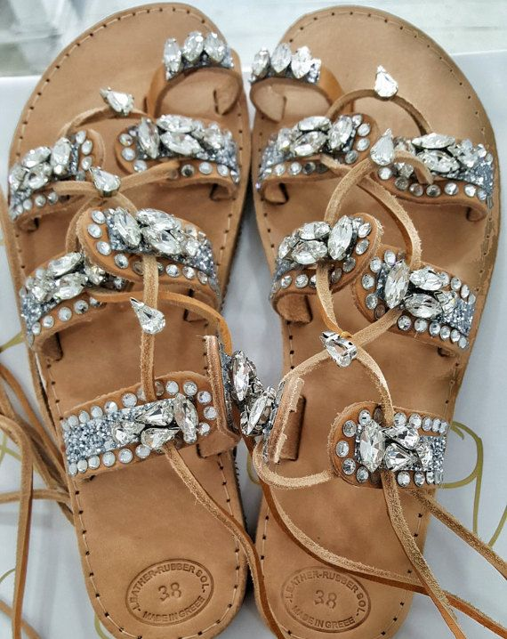 Greek sandals  gladiators  crystals  by boutiqueofsandals on Etsy