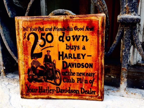 Harley Davidson Vintage Commercial Brochure Wooden Picture Home Decor Wall Decor