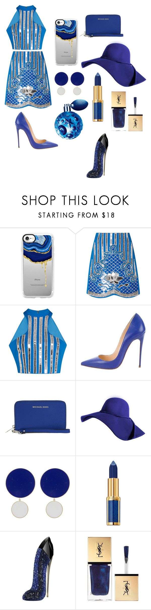 """Blue queen"" by abide-bida ❤ liked on Polyvore featuring Casetify, David Koma, Christian Louboutin, MICHAEL Michael Kors, Joanna Laura Constantine, Balmain, Carolina Herrera, Yves Saint Laurent and Thierry Mugler"