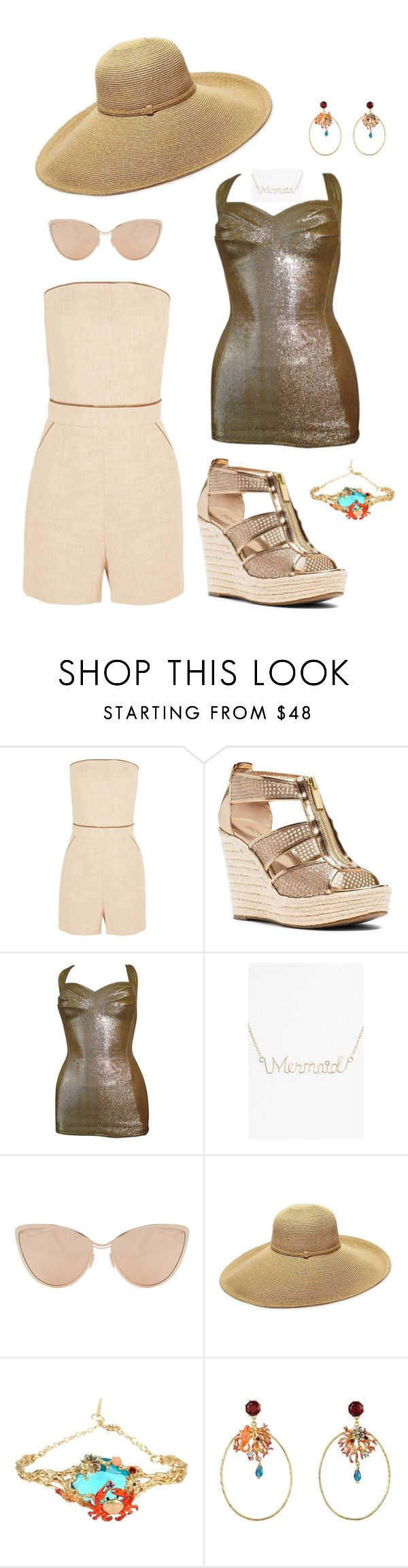 """Take Me to the Ocean"" by mrs-ginger-boss ❤ liked on Polyvore featuring Tamara Mellon, MICHAEL Michael Kors, Cole of California, ki-ele, Cutler and Gross, Gottex and Les Néréides"
