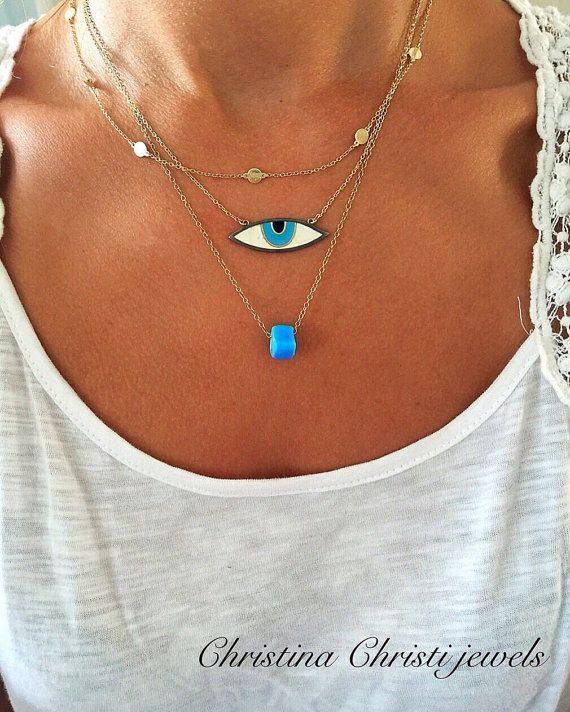 Vintage Necklace, Ocean Blue Stone Necklace, Eye Necklace, Evil Eye Necklace, Gold Plated 24k Chain, Blue Eye Necklace, Gift For Women.