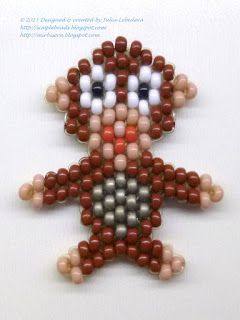 Beaded monkey in the brick stitch beading technique. Free pattern with detailed tutorial.