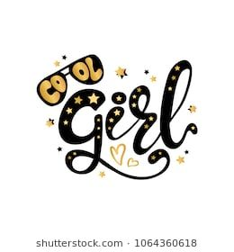 Illustration of Cool Girl text for boys clothes royal badge tag icon inspiration…
