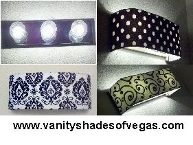 """You don't have to live with that ugly """"Hollywood style"""" bathroom vanity light fixture for one more day. Vanity Shades of Vegas creates custom Vanity Shades to fit 3, 4, 5, 6, 8 & 10 bulb light fixtures. Transform your bathroom in minutes - No tools or hardware required."""