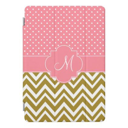 Monogram Gold Chevron with Pink Polka Dot Pattern iPad Pro Cover - monogram gifts unique design style monogrammed diy cyo customize