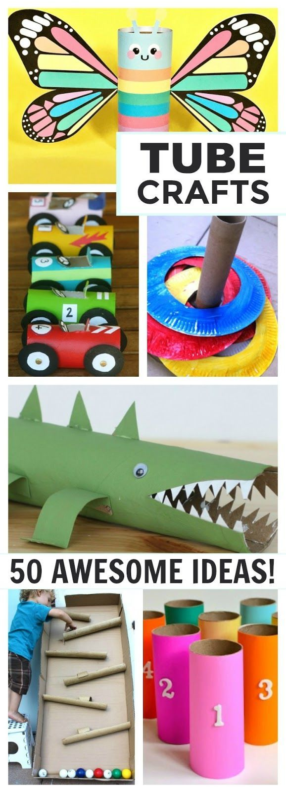 50 awesome kid creations made from empty cardboard rolls! These are SO COOL, and we always have these rolls lying around, too!