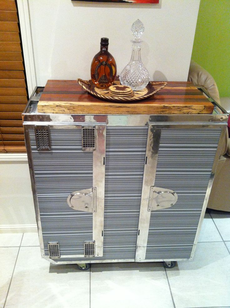 Double Qantas Galley Cart Upcycled Into A Highly Polished Mobile Bar With  Indonesian Hardwood Top And