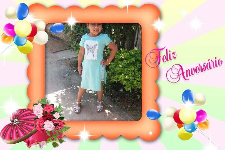 Moldura - Feliz Aniversario Baloes E Flores