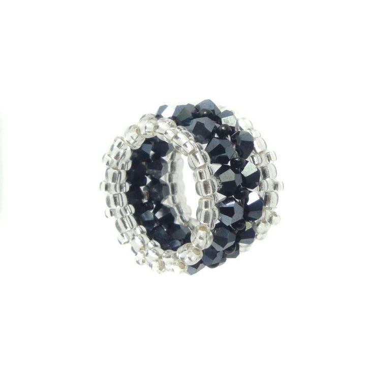 Memory Ring - Kristall Glasschliff - Hämatit / Schwarz / Silber - ca. 15 mm breit - Handarbeit