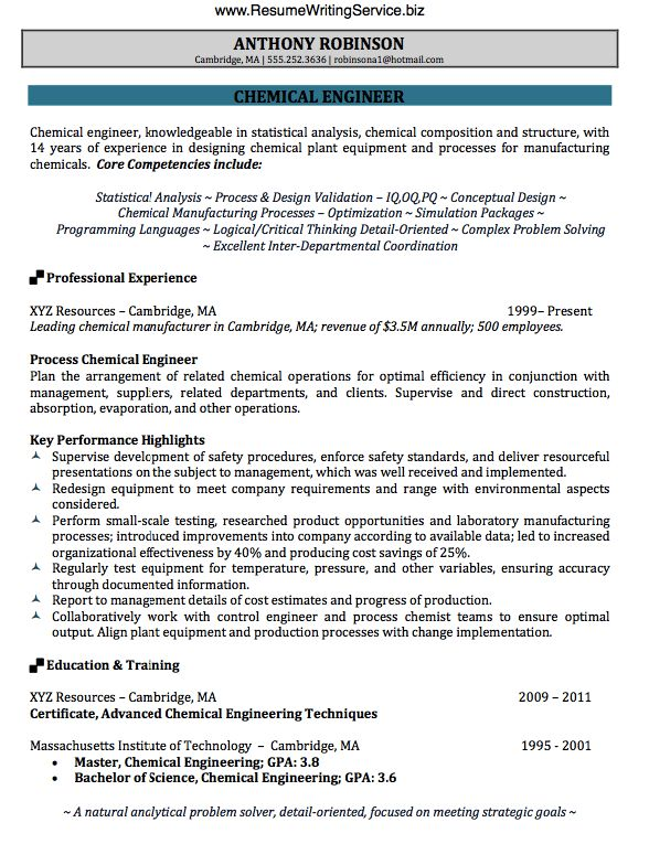 Chemical Engineer Resume Sample