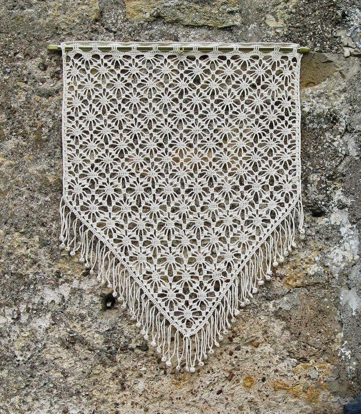 Rideau écru, crocheté main,en coton d'Egypte haut de gamme : Textiles et tapis par pfenninger